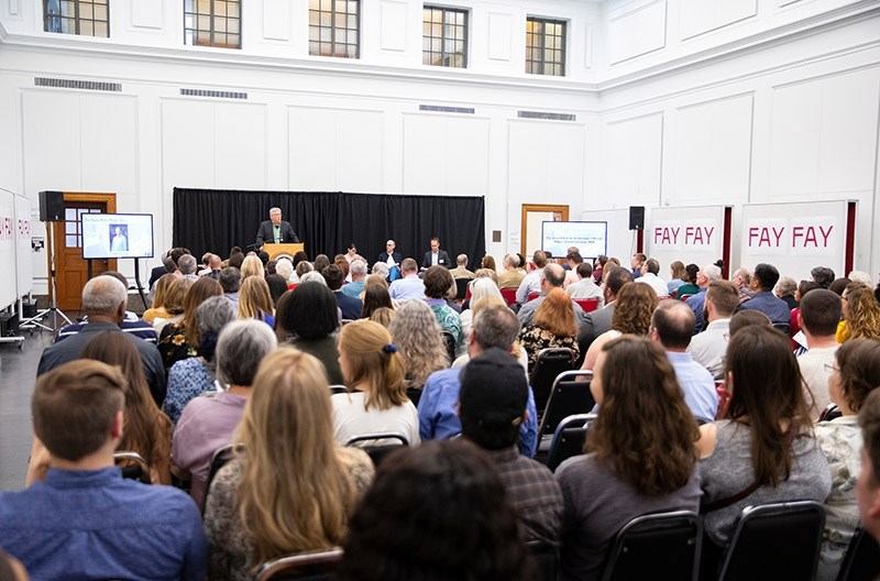 The crowd is gathered for the 2019 Honors Recognition Reception and Ceremony, held April 12 in Vol Walker Hall on the University of Arkansas campus. More than $164,000 was awarded through scholarships, and 87 students were honored.