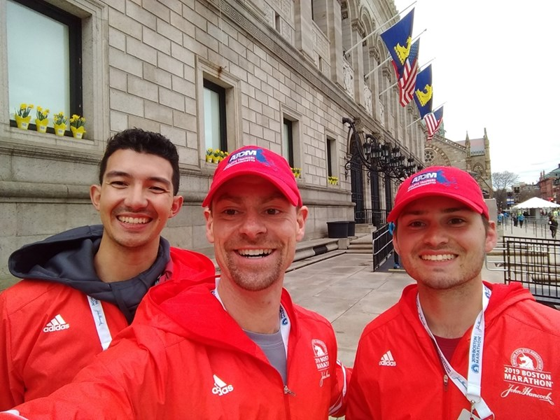 Brendon McDermott, Mitchell Skinner and Matthew McCarthy after a long day of treating runners and saving lives at the Boston Marathon