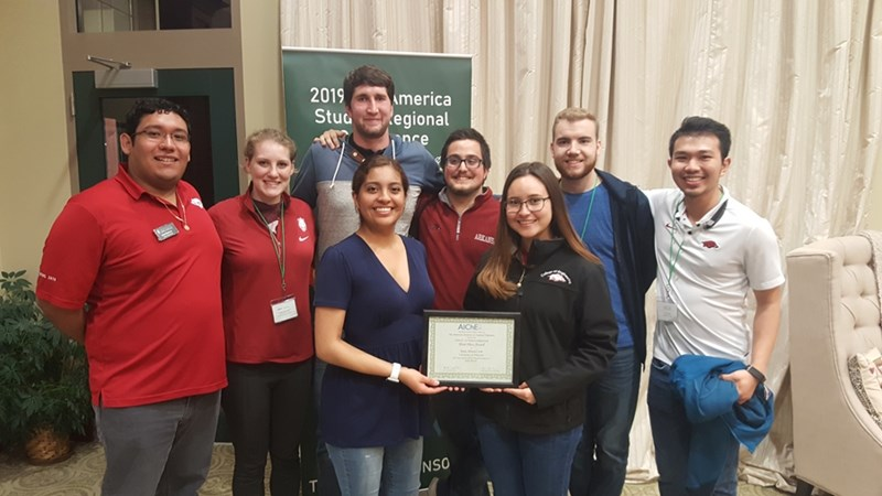 Elizabeth Gomez, Vera Rodriguez, Juan Marin, Gage Agee, Brandon Howell, Loc Huynh, Sean Simkins and Ashley Cox traveled to Rolla, Missouri, to compete in the American Institute of Chemical Engineering's conference and competition.