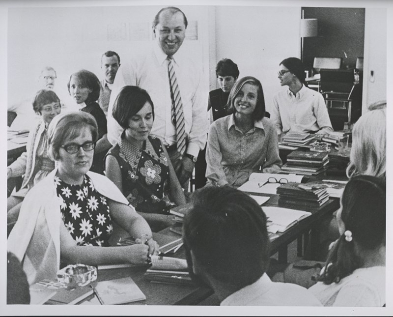 To meet the shortage of English language teachers at German high schools, the Northrhine-Westphalian Government invited 30 American teachers to teach at German Secondary schools during the 1970-71 school year. Before going to their German schools, the American teachers were given a two-week orientation course on Germany and the German educational system at the Pedagogic Institute in Bonn.