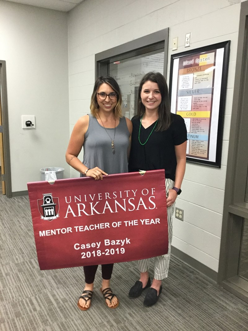 Casey Bazyk and U of A teacher candidate, Auburn Peters.