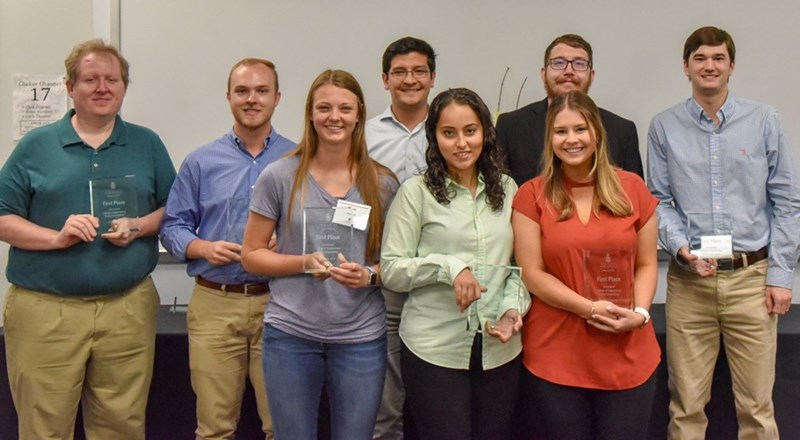 Team Grip Strength Pen won first prize in the 2019 Senior Capstone Design Poster Competition. The team created a pen to monitor a person's grip pressure while wirelessly transmitting the information to a computer or any other device.