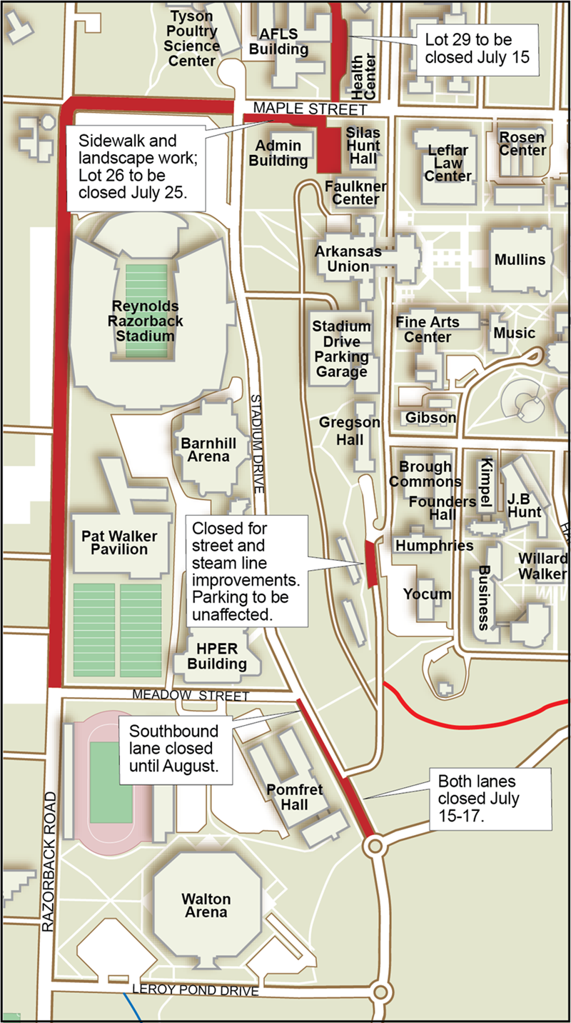 Sections of road and parking lots that will be affected during continuing road improvements.
