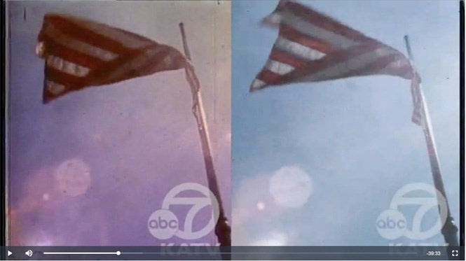 Before and after images of a film frame of the American flag, showing color-correction made during the conversion from the KATV news film archive into a digital version offered online by the Pryor Center.