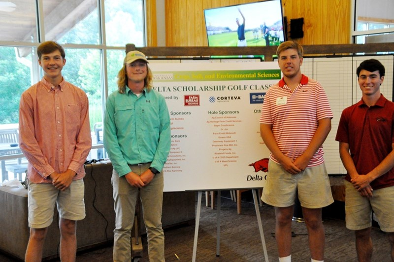 Students earning scholarships with funds raised through this year's Delta Scholarship Golf Classic include (from left) Gage Marris of Little Rock, Neal Benson of Manila, Charlie Farr of Proctor and Easton Reaper of Searcy.