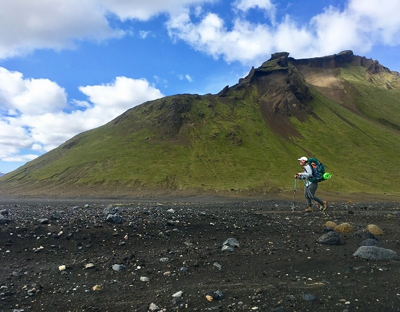 Megan Turk, an adjunct faculty member in Recreation and Sport Management, hikes near Emstrur, Iceland.