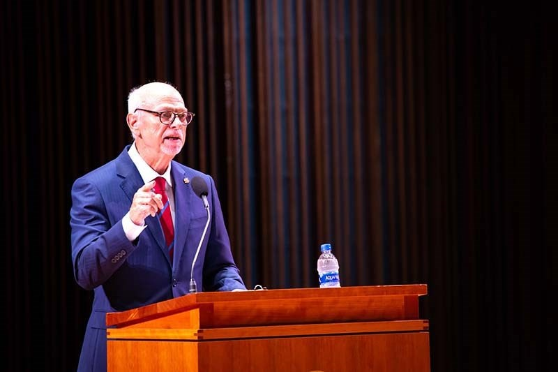Chancellor Joe Steinmetz speaks to faculty, staff and students during the 2018 State of the University address.