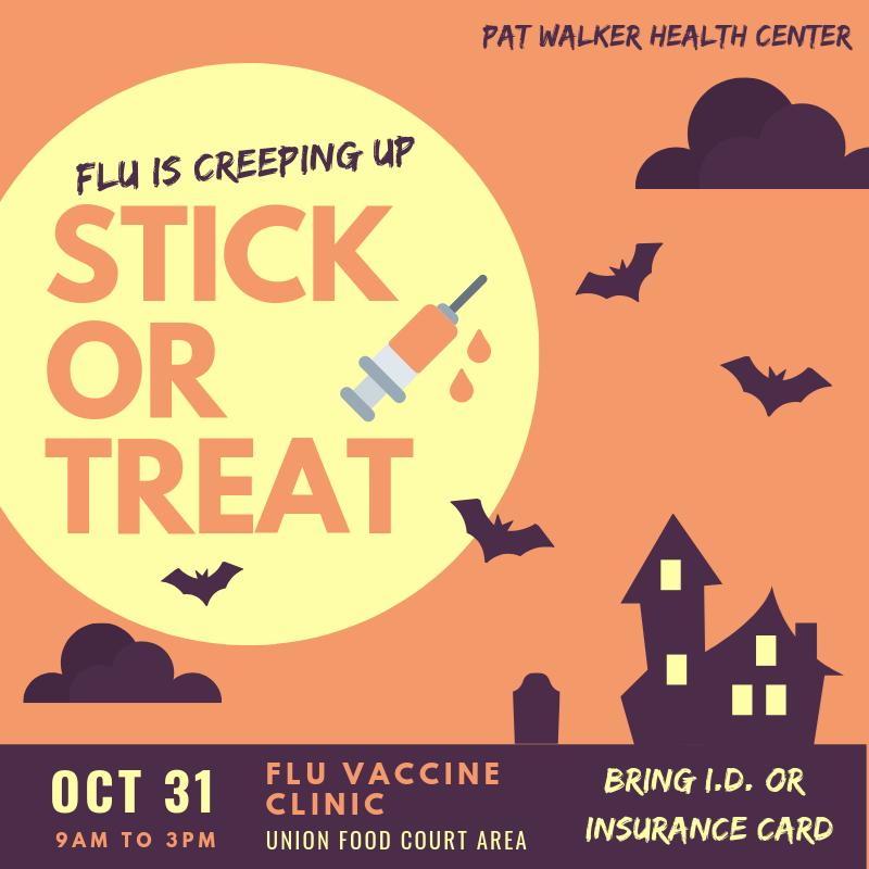 Washington County Arkansas Halloween Oct. 31, 2020 Event Stick or Treat: Halloween Flu Vaccine Clinic at Union on Oct. 31