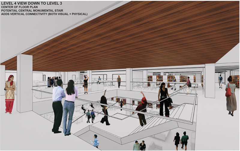 A conceptual rendering shows an upper floor of the library with redesigned study areas.