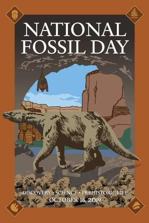 A National Fossil Day poster features a Shasta ground sloth (Nothrotheriops shastensis).