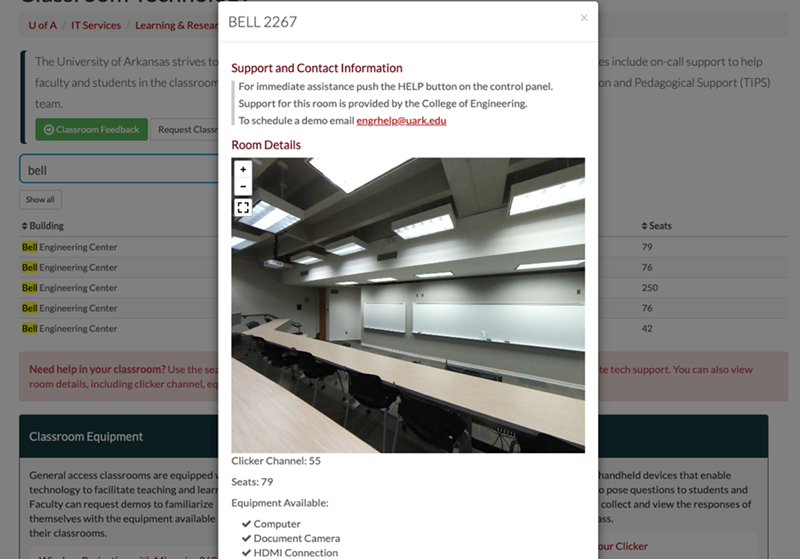 Faculty can preview classroom details using a new search feature on the IT Services website.
