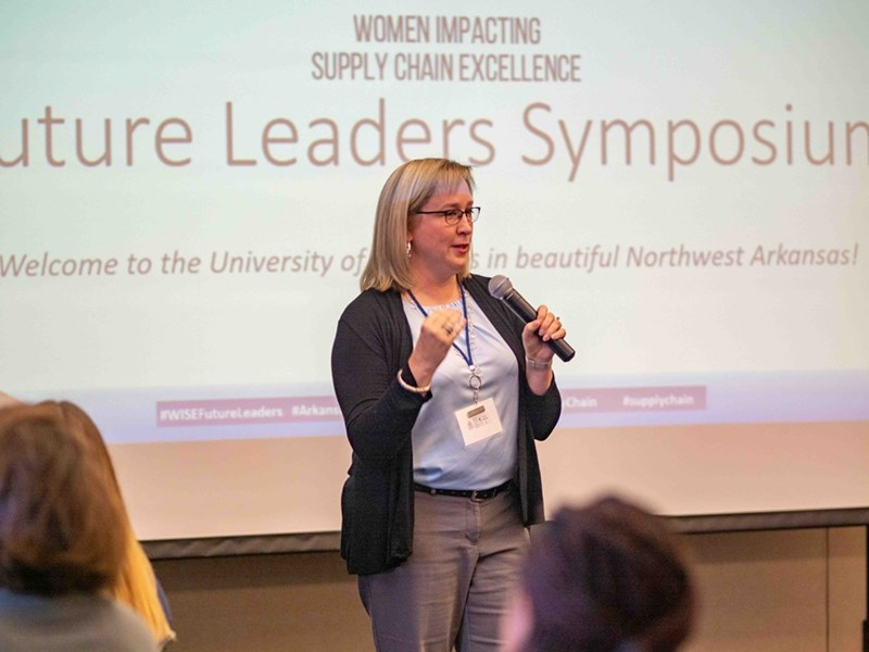 Stephanie Thomas speaking at the WISE future leaders symposium in fall 2019.