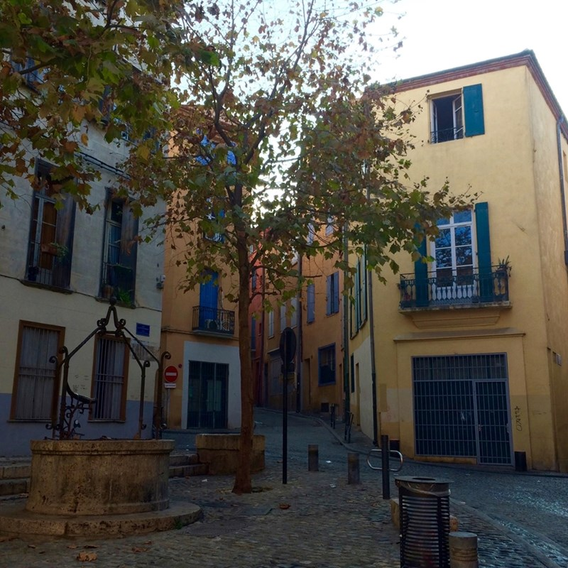 The winding streets of the French city of Perpignan.