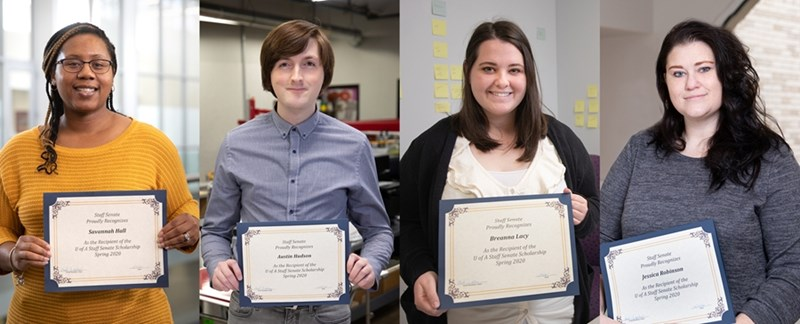 Spring 2020 Scholarship winners Savannah Hall, Austin Hudson, Breanna Lacy and Jessica Robinson.