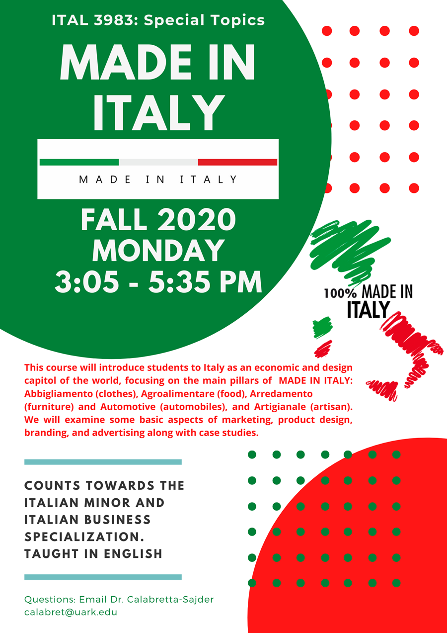 100 Made In Italy.New Course Coming In Fall 2020 Made In Italy University Of Arkansas