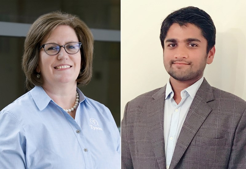 Kimberly Glenn (left) and Utkarsh Shah, outstanding alumni from Bumpers College's Department of Food Science, hold research and development positions with Tyson Foods and the Hershey Company, respectively.