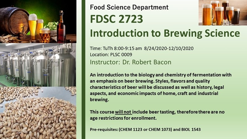 Introduction to Brewing Science is part of a Certificate of Proficiency in Brewing Science program offered through Bumpers College's Department of Food Science.
