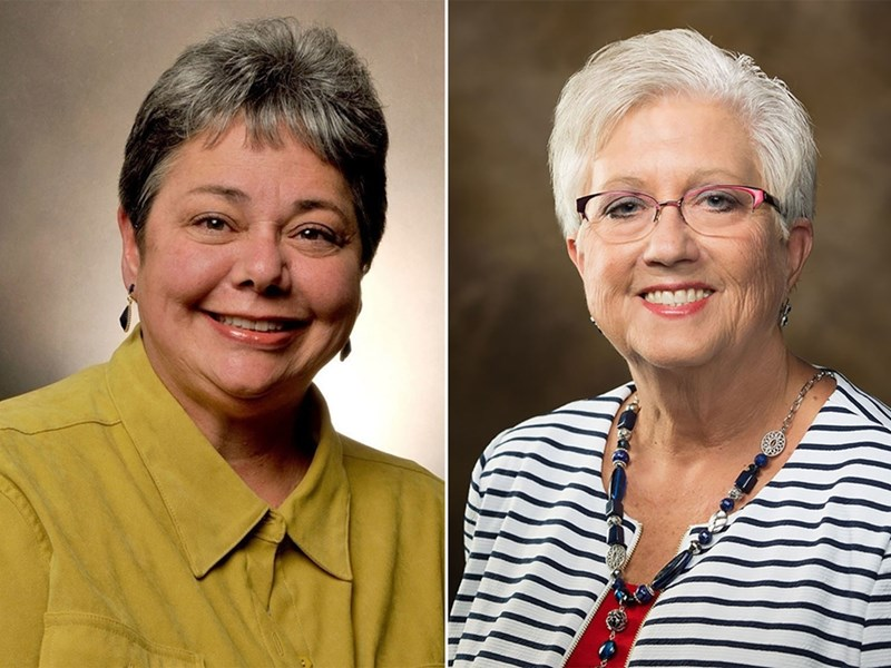 Betsy Garrison (left) is stepping down as director of Bumpers College's School of Human Environmental Sciences and will focus on teaching and research. Donna L. Graham, University Professor of agricultural education, is the interim director.