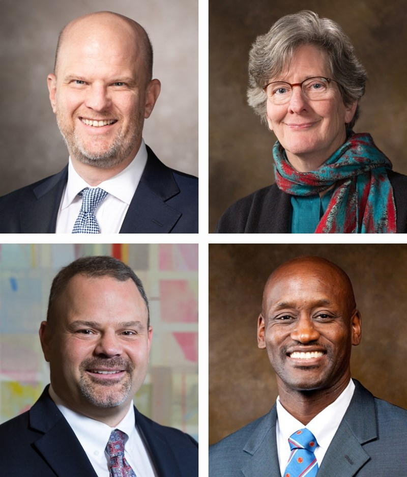 From top left: deans Dennis Clark of the University Libraries and Lynda Coon of the Honors College; and below: Todd Shields of the Fulbright College of Arts and Sciences and interim Provost Charles Robinson.