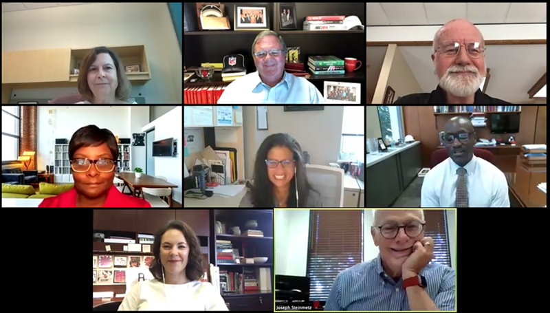 A screenshot of the campus officials participating in the final summer forum: From top left: Flo Johnson, Terry Martin and Mike Johnson; middle row: Yvette Murphy-Erby, Huda Sharaf and Charles Robinson; and bottom row: Laura Jacobs and Chancellor Joe Steinmetz.