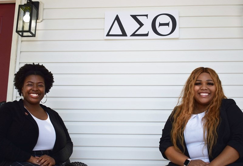 Lambda Theta Chapter President Skyye Robinson and First Vice President Ranique Daniel.