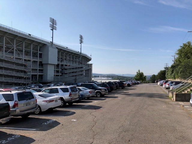 Lot 72, west of Reynolds Razorback Stadium, is one of several lots that motorists are required to vacate before home football games.