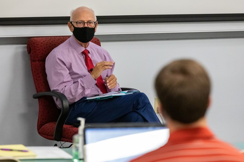 Chancellor Joe Steinmetz answers questions during a class on leadership principles and practices earlier this semester.