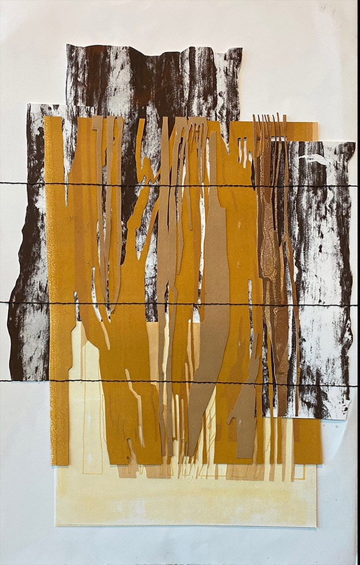 'Bark and Grain' (collage of monoprints and screenprint with hand-stitching, 2019) was one of two works of art by architecture professor Laura Terry selected for this year's 64 Arts National Juried Exhibition.