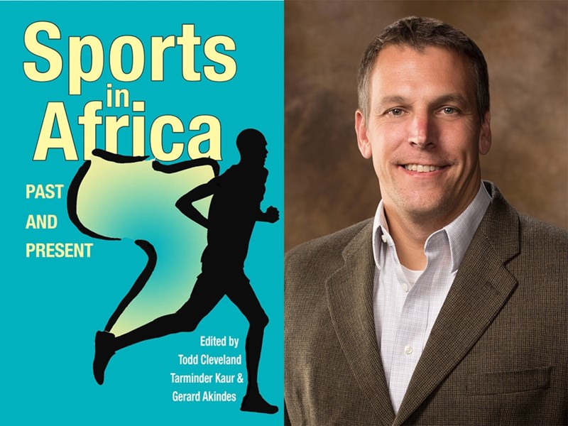 The book cover of Sports in Africa, and author Todd Cleveland.