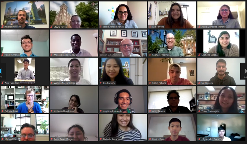 Sponsored students from around the world were welcomed to campus by Chancellor Joe Steinmetz in a recent Zoom call.