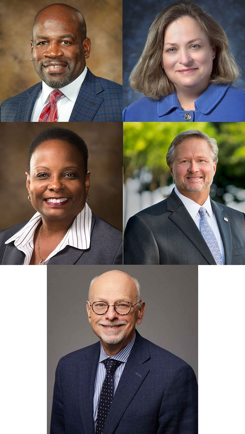Clockwise from L to R: Deacue Fields, Ann Bordelon, John English, Chancellor Joe Steinmetz, and Yvette Murphy-Erby.