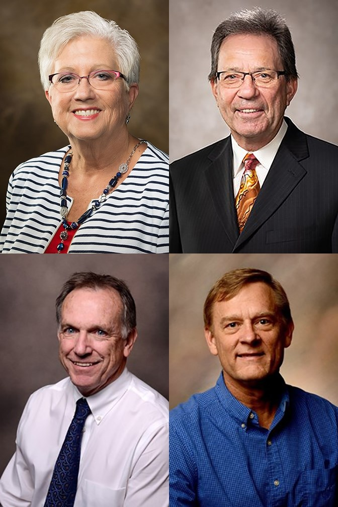Top, from left: Donna L. Graham and John Clark; bottom: Walter Bottje and Bruce Ahrendsen.