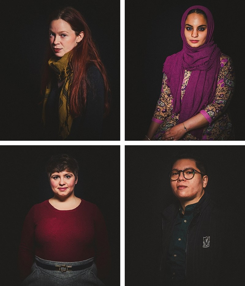 Top from left: Joy Clark and Hiba Tahir; and below: Emma VanDyke and Vicente Yépez.