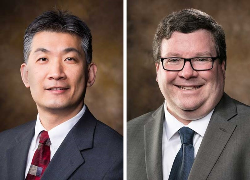 Jia Di (left) will become head of the Department of Computer Science and Computer Engineering Jan. 1. Dale Thompson (right) has served as interim department head since July.
