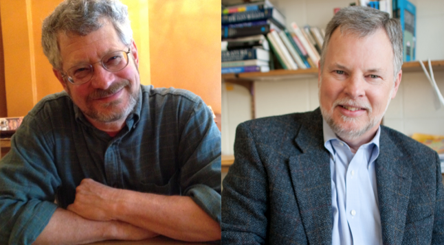 Above: Eli Goldblatt and David Jolliffe; below: cover image of their co-authored book; at bottom: Jolliffe and Goldblatt, friends as well as fellow literacy scholars (photo credit: Wendy Osterweil).