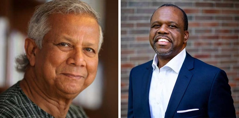 Nobel Laureate Muhammad Yunus, left, and Darrin Williams, CEO of Southern Bankcorp.