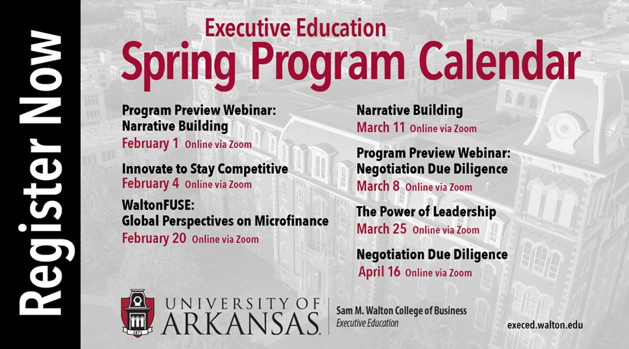 Uark Spring 2021 Calendar Walton Executive Education Spring Open Enrollment Courses