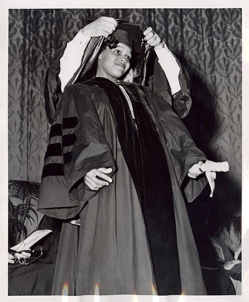 Edith Irby Jones, first African American graduate of the University of Arkansas Medical School, June 1952