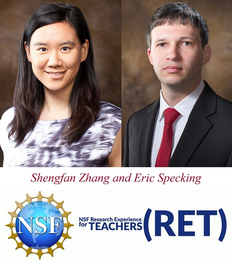 Shengfan Zhang and Eric Specking are principal investigators for the Research Experience for Teachers site in Arkansas.