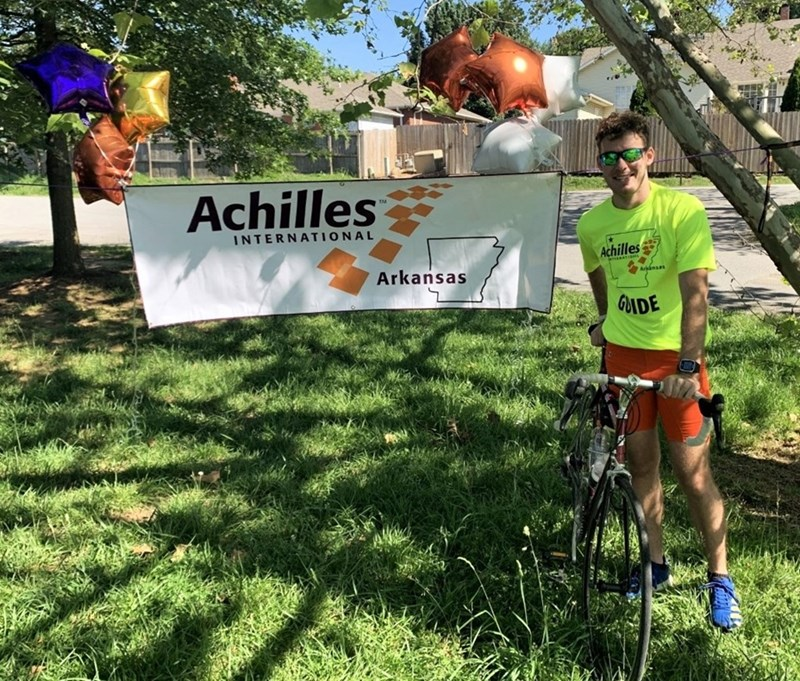Benjamin Wright at a charity bike ride for the Arkansas chapter of Achilles International.