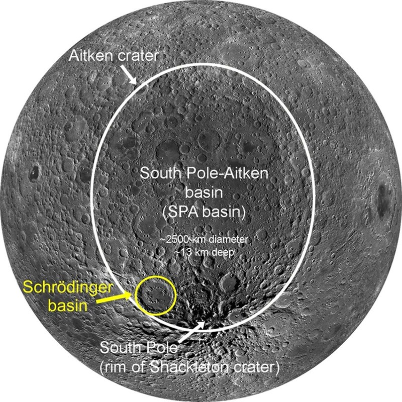 View of the southern, midlatitude far side of the moon showing the SPA basin outlined in white and the Schrödinger basin outlined in yellow (modified from LPI Lunar South Pole Atlas).