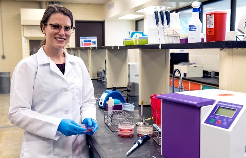 Jennifer Acuff, assistant professor of food microbiology and safety in the Department of Food Science, investigates strategies to improve fresh and processed food safety and protect food products from microbial contamination.