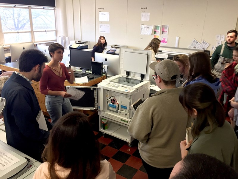 Olivia Fredricks discusses the Risograph SF5450, purchased by art professor Sean Morrissey with grant support from the Honors College. This digital duplicator can reproduce digital or hand-drawn images to create prints, zines and other distributable artworks.