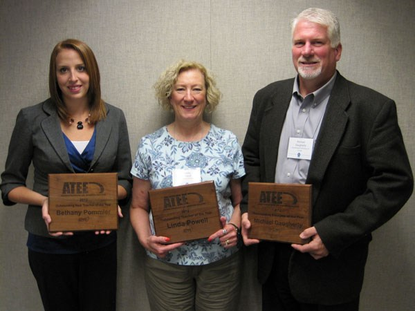Michael K. Daugherty, far right, University of Arkansas professor, received the Outstanding Arkansas Technology and Engineering Education Professional award from the Arkansas Association for Career and Technical Education. With him are Bethany Pommier, Ramay Junior High in Fayetteville, who received the Outstanding New Arkansas Technology and Engineering Teacher of the Year, and Linda Powell, Cabot High School, who received the Outstanding Arkansas Technology and Engineering Teacher of the Year.
