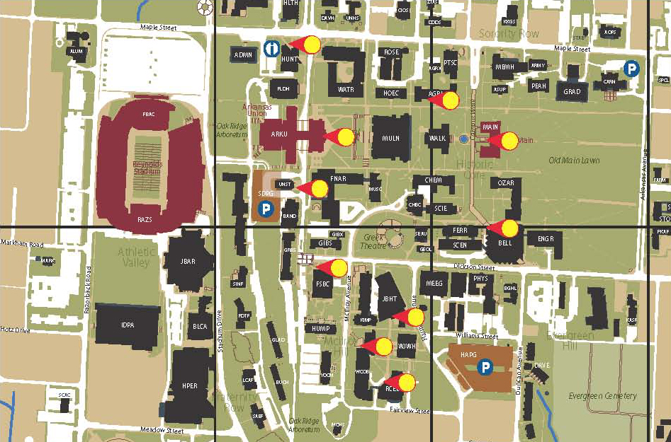u of arkansas campus map Students Have First Day Questions Help A Hog Volunteers Have