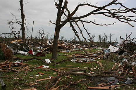 The most severe damage caused by the EF5 tornado that struck Joplin, Mo., on May 22, 2011, occurred on flat terrain or when the tornado was moving uphill.