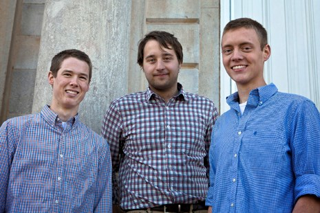 Left to right: Truman Scholarship finalists Mike Norton, Matt Seubert, and Grant Hodges