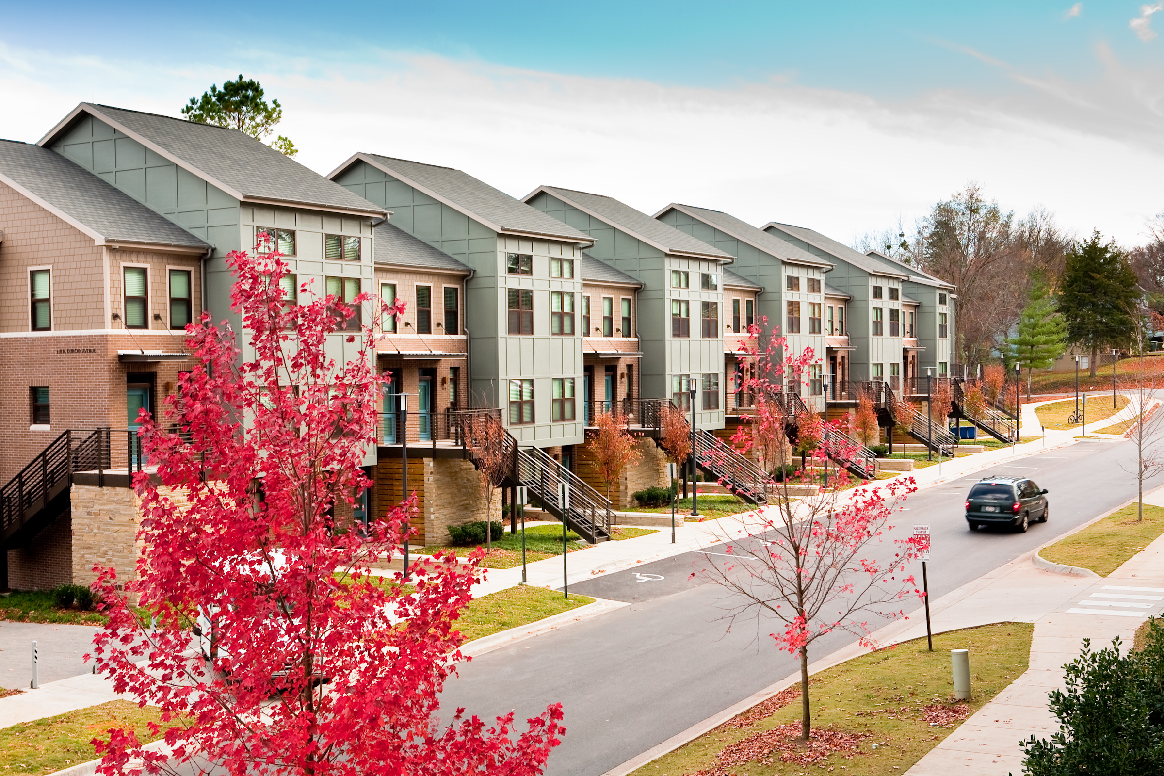 University of arkansas apartment building is first to receive duncan avenue apartments won a green globe certification from the green building initiative xflitez Choice Image