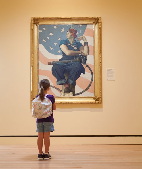 Norman Rockwell's Rosie the Riveter is one of the artworks children see when they take a school field trip to Crystal Bridges Museum of American Art in Bentonville.